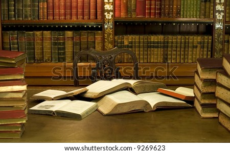Mess in reading room - stock photo