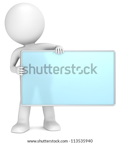 Message Board. 3D little human character The Messenger holding an empty Board. Frosted glass and chrome. People series. - stock photo