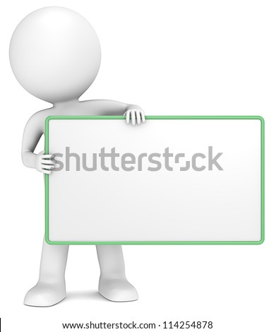 Message Board. 3D little human character The Messenger holding an empty Board. Green Frame. Copy Space. People series. - stock photo