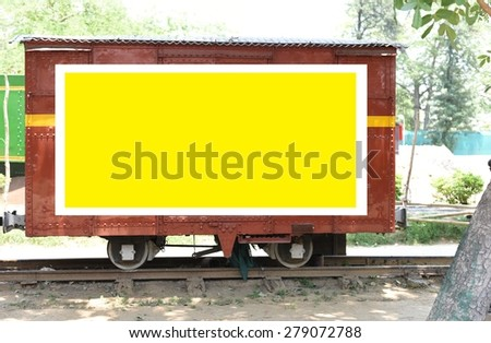 Message board for advertisement on a old railway cart - stock photo