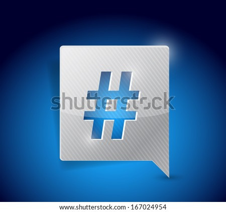 message bubble and hashtag illustration design over a blue background - stock photo