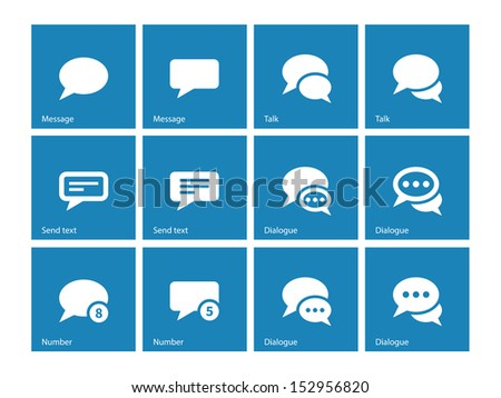Message bubble icons on blue background. See also vector version. - stock photo