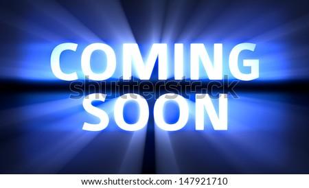 Message coming soon in blue light streaks - stock photo