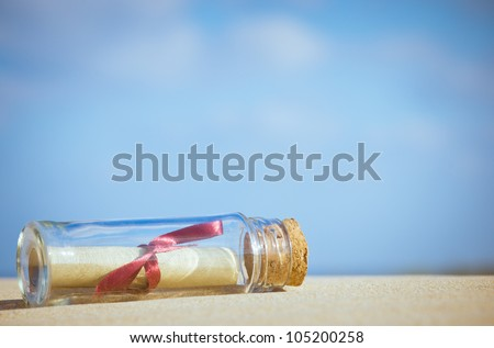 message in a bottle - stock photo