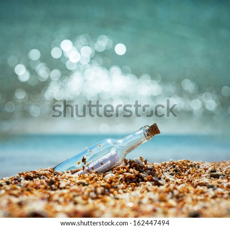 Message in bottle - stock photo