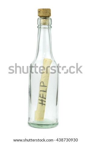 Message in bottle isolated on white background.