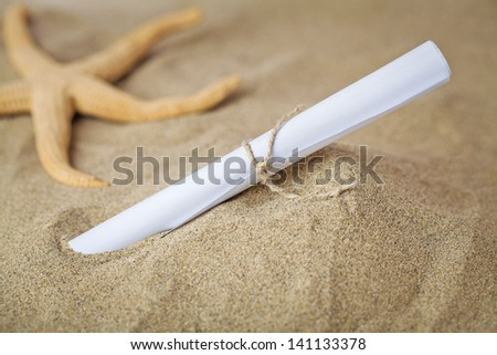 message in the sand - stock photo