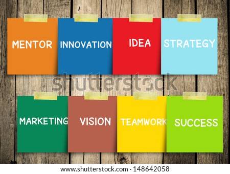 Message note with Success concepts in a sphere: idea, strategy, partner, motivation, marketing, mentor, vision, innovation. Slide concept.  - stock photo