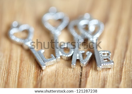 Message of Love with Metal Keys - stock photo