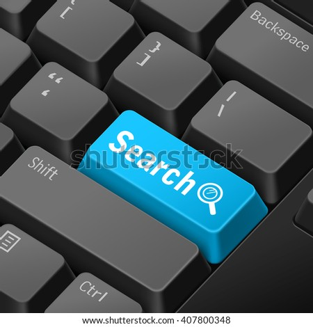 message on 3d illustration keyboard enter key for search concepts - stock photo