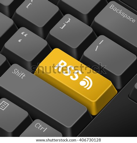 message on keyboard enter key for rss concepts. 3D rendering - stock photo
