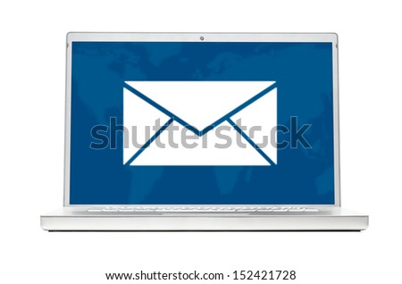 message on modern laptop isolated on white background - stock photo