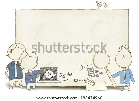 Messaging with Social Media and Blank Space - stock photo