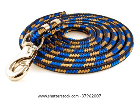 Messed up coiled dog leash isolated on white. - stock photo