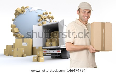 Messenger delivering a parcel in an international transport context - stock photo