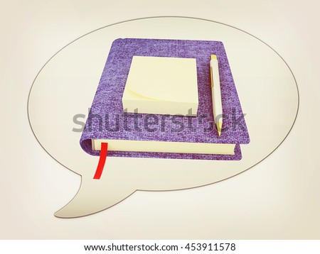 messenger window icon. Pen on notepad. 3D illustration. Vintage style.