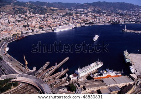 messina, the port from above - stock photo