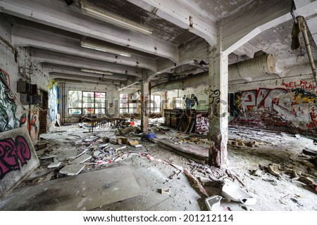 Messy abandoned factory room