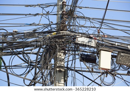 Messy Cable Electricity Post Chiang Mai Stock Photo 365228210 ...