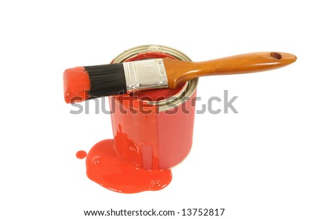 Messy dripping red paint tin with paintbrush isolated on a white background. - stock photo