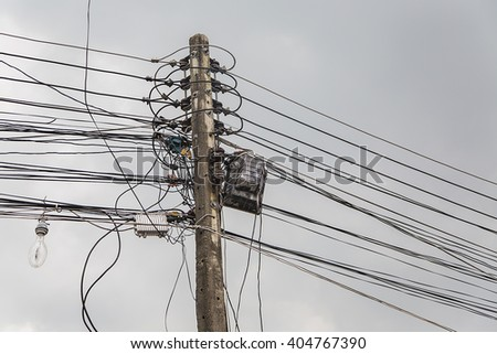 Messy electrical cables in Chiang Mai, Thailand