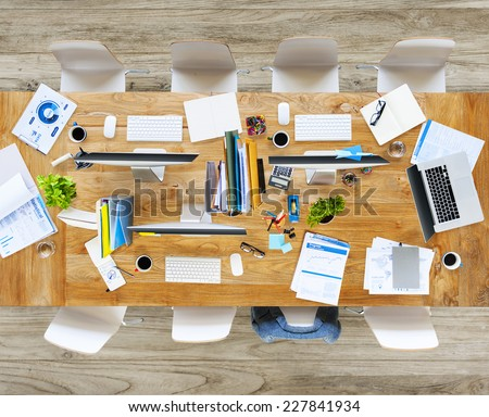 Messy Office with No People - stock photo