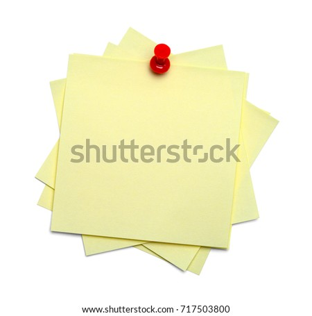 Messy Sticky Notes Stacked and Tacked Isolated on White Background.