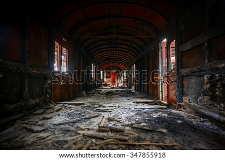Messy vehicle interior of a train carriage angle shot - stock photo