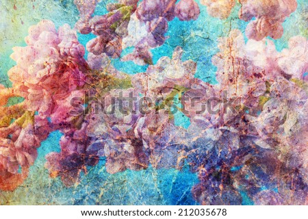 messy watercolor splashes and gentle lilac twigs - stock photo