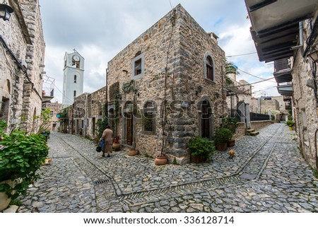 MESTA,CHIOS ISLAND, GREECE- MARCH, 2015: Mesta village streets in Chios Island, Greece on March 14,2015. The village of Mesta is the most distant of the medieval villages. - stock photo