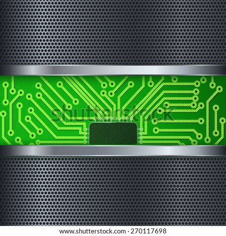 Metal abstract background with Electronic circuit and metallic frame. Raster version - stock photo