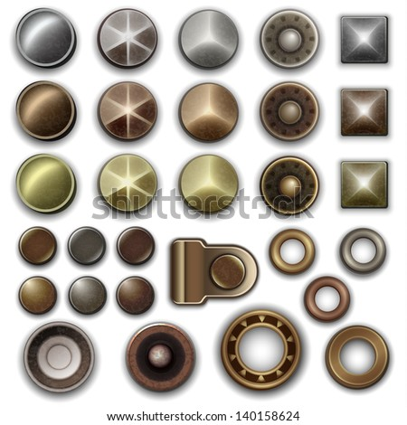 Metal accessories collection - raster version - stock photo