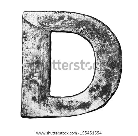 Metal alloy alphabet letter D - stock photo