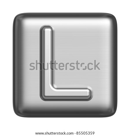 Metal alphabet in the form of a cliche. Capital letter L - stock photo