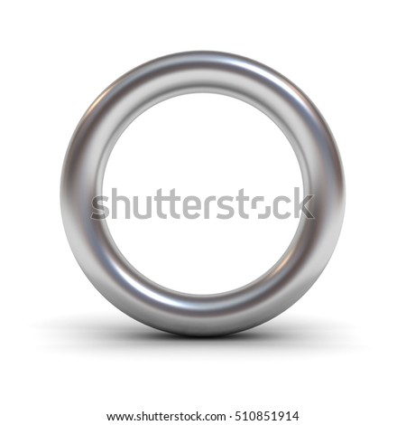 Metal alphabet letter O or silver ring isolated on white background with reflection and shadow. 3D rendering.