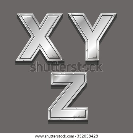 Metal alphabet letters and symbols X Y Z - stock photo