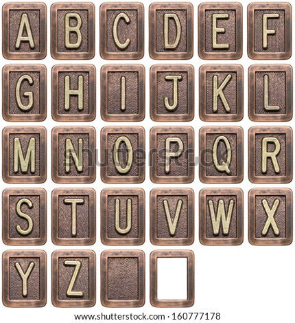 Metal alphabet letters isolated on white - stock photo
