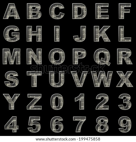 Metal  alphabet set on black background