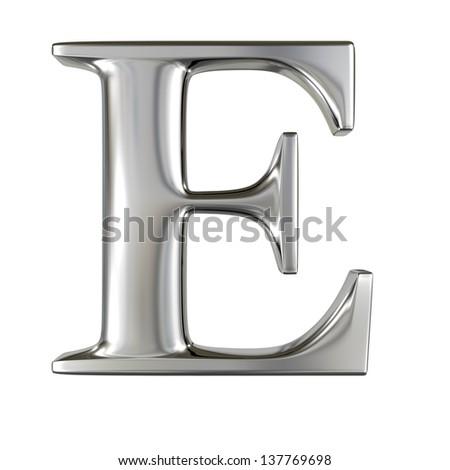 Metal alphabet symbol - E - stock photo