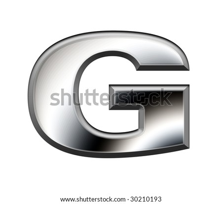 Metal alphabet symbol - G,Reservation path - stock photo