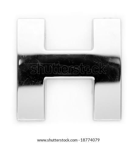 Metal alphabet symbol - H - stock photo