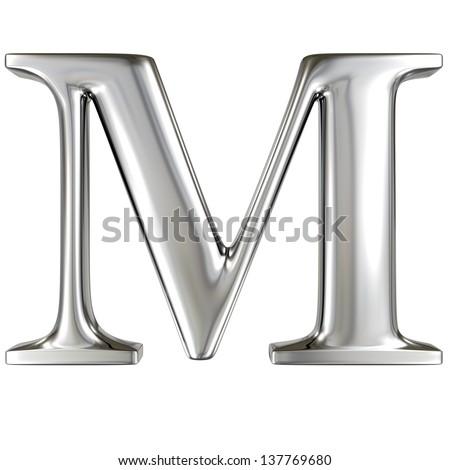 Metal alphabet symbol - M - stock photo