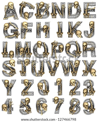 Metal alphabet with skeleton on white - stock photo