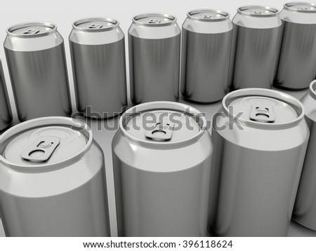 Metal Aluminum Beverage Drink Can Mock up. 3D illustration. - stock photo