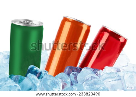 metal aluminum beverage drink canned in ice isolated on white background - stock photo