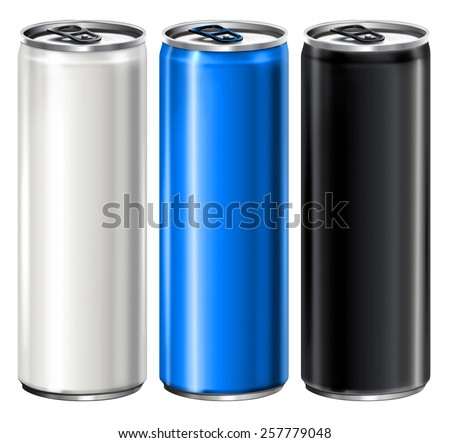 Metal Aluminum Beverage Drink Cans. Ready For Your Design. Product Packing - stock photo