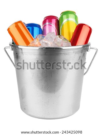 metal aluminum drinks canned in ice isolated on white background  - stock photo