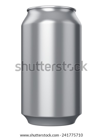 Metal aluminum tin drink can isolated on white background - stock photo