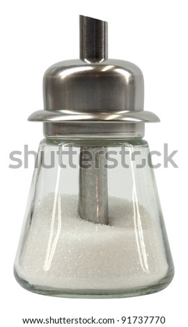 Metal and glass sugar shaker isolated on white