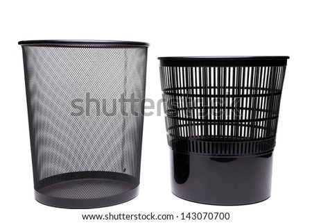 Metal and plastic trash cans